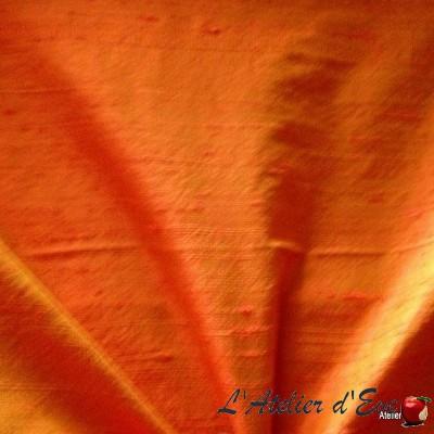 """""""Soie sauvage"""" mandarine Coupon 135x135cm tissu ameublement 100% soie"""