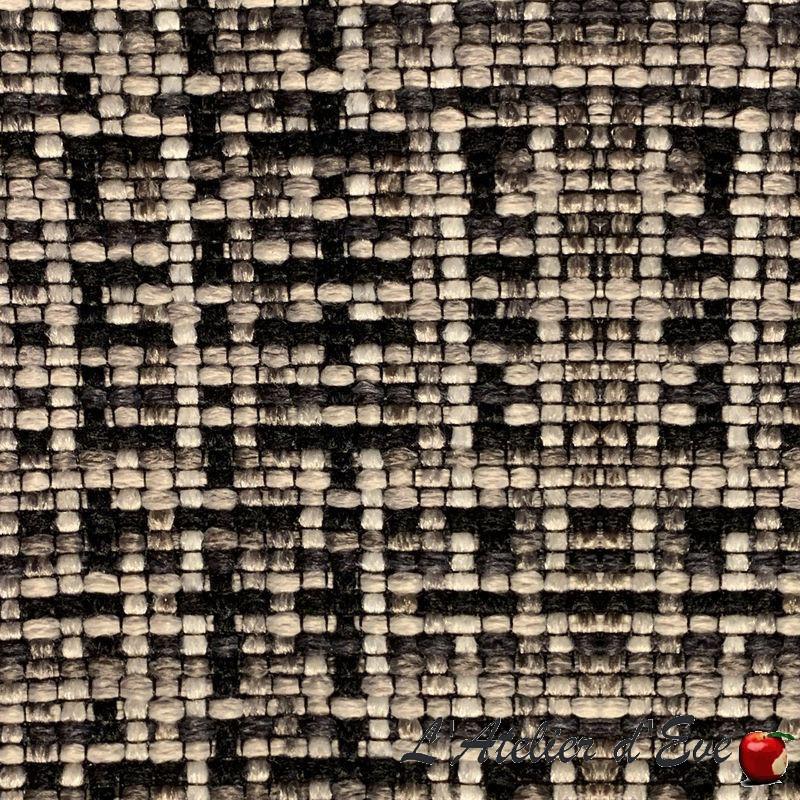 """""""Cesar"""" noir-gris Coupon 100x140cm tissu ameublement jacquard Thevenon"""