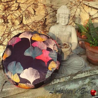 "Celine black ""Zafu"" Meditation cushion Made in France L'Atelier d'Eve"