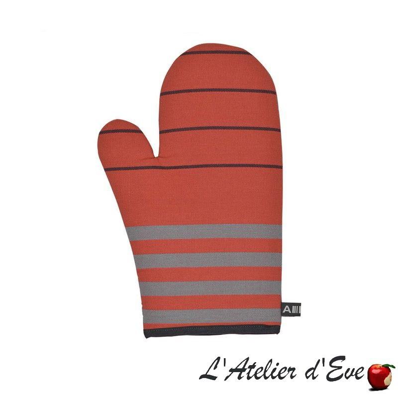 """""""Sauvelade"""" brique Moufle coton toile basque 30x19cm Artiga"""