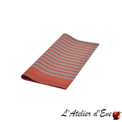 """Sauvelade"" brique Serviette coton toile basque Made in France 50x50cm Artiga"