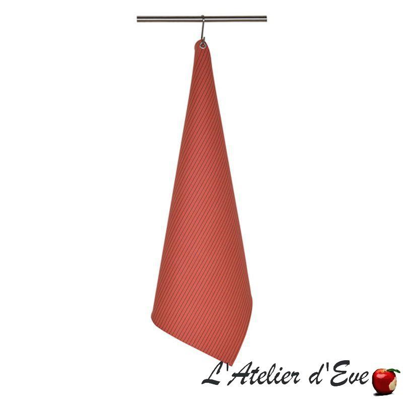 """""""Sauvelade"""" brique 1 Torchon coton toile basque Made in France 75x50cm Artiga"""
