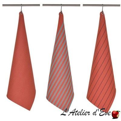"""Sauvelade"" Basque cotton cloth tea towel Made in France 75x50cm Artiga"