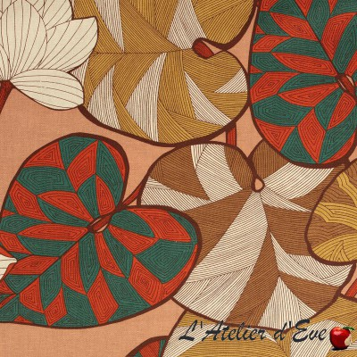 """Idris"" rose Coupon 100x280cm toile coton fleurie ameublement Thevenon"