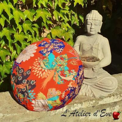"""Zafu"" Kimono Flowers Coussin de méditation Made in France L'Atelier d'Eve"