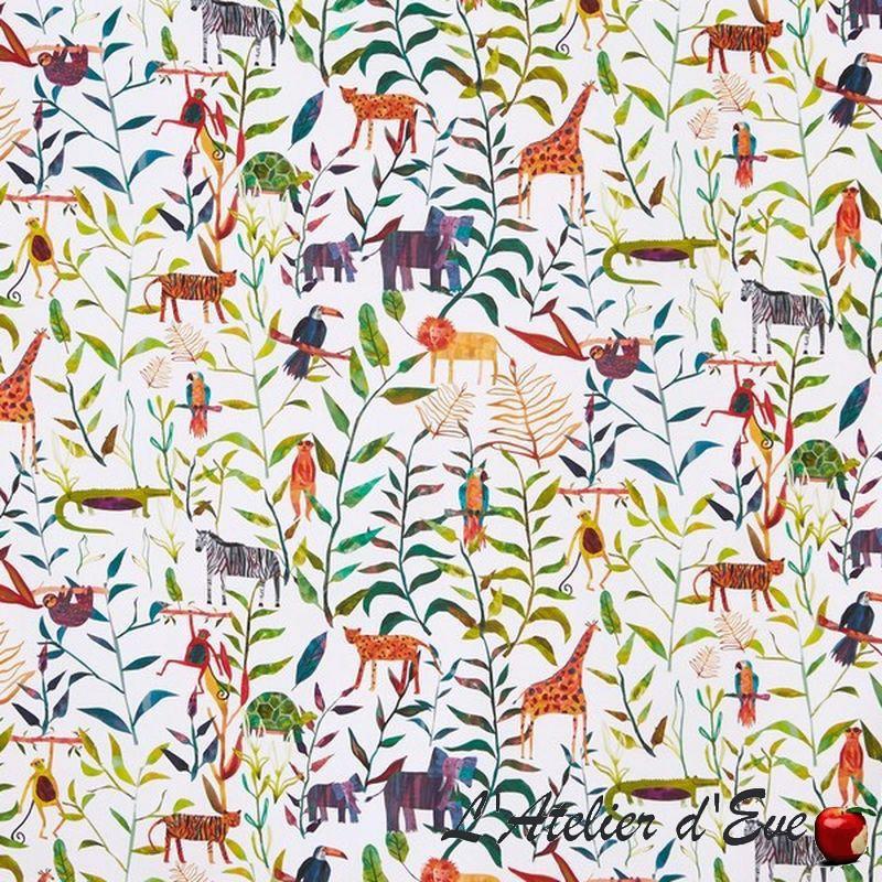 "Toile de coton ""Hide and seek"" jungle - Collection Big Adventure Prestigious Textiles"