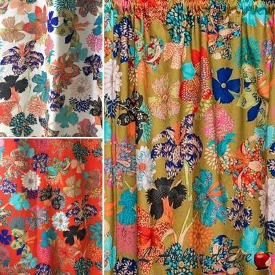 "Thevenon ""Kimono Flowers"" eyelet curtain made in France"