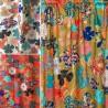 Rideau à œillets Kimono Flowers rouge Thevenon fabriqué en France