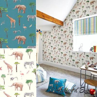 """Papier peint pour enfant """"Safari Park"""" thème animaux/jungle Prestigious Textiles"""