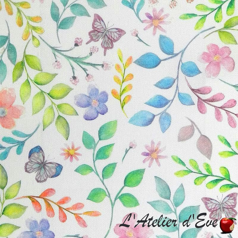 """""""Secret Garden"""" candyfloss - Toile de coton imprimée fleurs au mètre Collection Big Adventure Prestigious Textiles"""