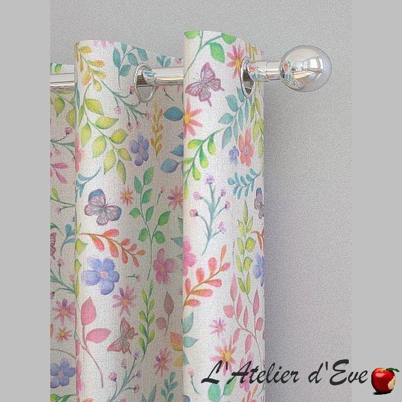 """Détails rideau Made in France """"Secret Garden"""" candyfloss - Rideau à oeillets 100% coton Prestigious Textiles"""
