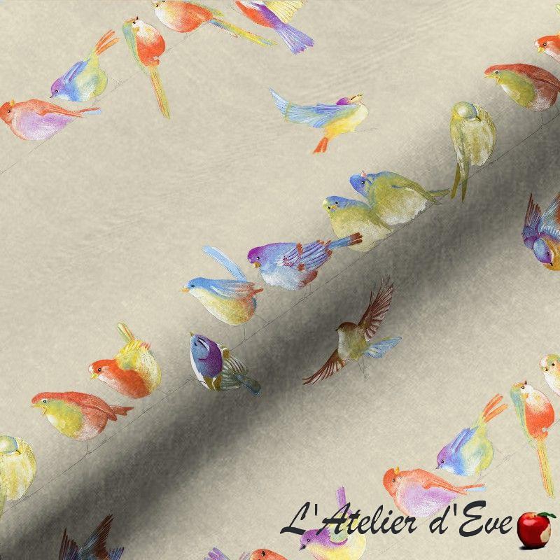 Tissu ameublement coton motif oiseaux Happy Birds fond lin Thevenon