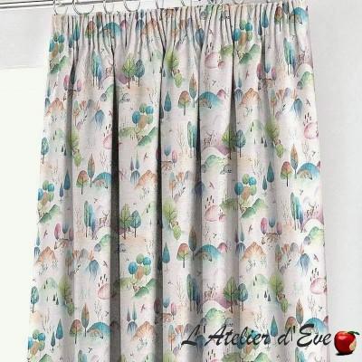 """Cotton eyelet curtain """"Woodland Walk"""" French manufacture Prestigious Textiles"""