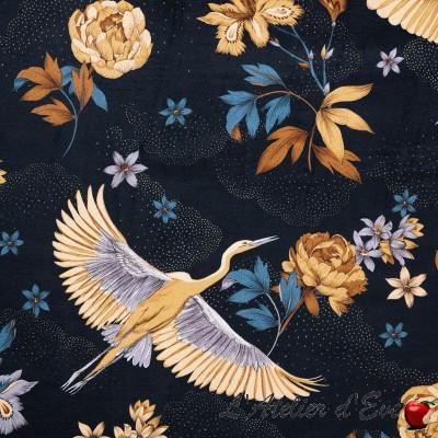 """""""Tsuru"""" velours bleu nuit Tissu japonisant Thevenon"""