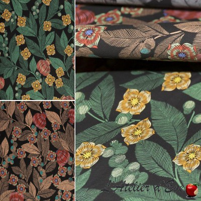 """""""Fruit du paradis"""" couverture Toile de coton grande largeur fleurie Thevenon"""
