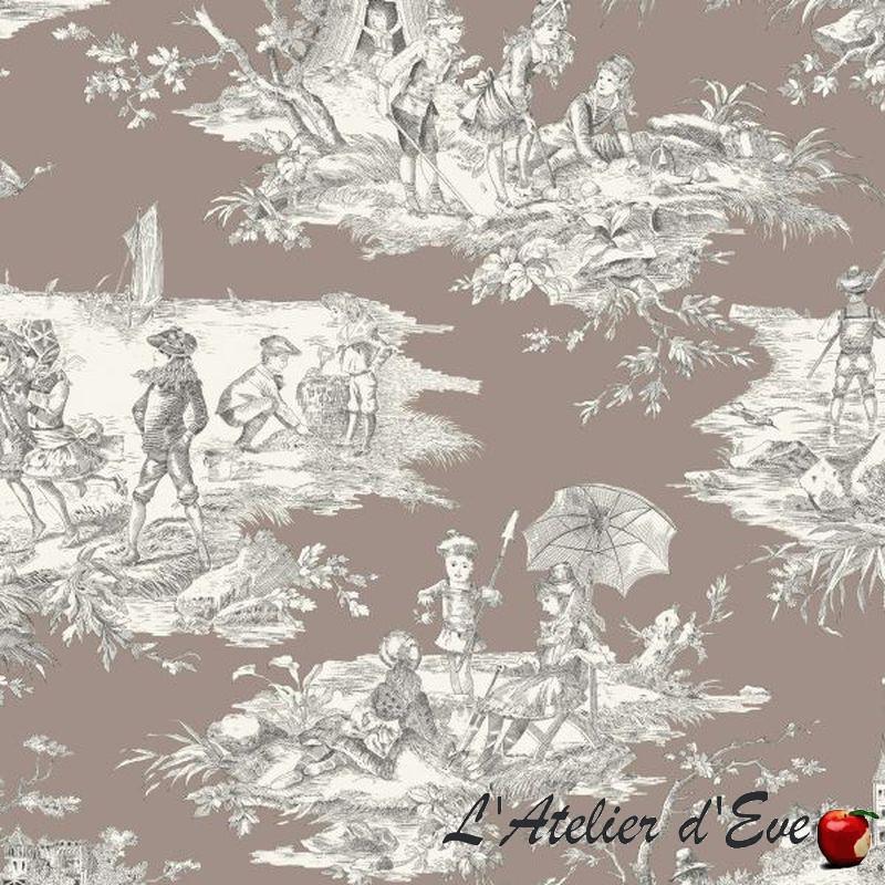 Histoire d'eau -1062631 fond taupe Toile de jouy coton grande largeur Thevenon vendue au mètre