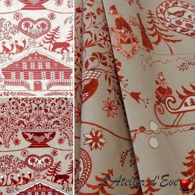 """Christmas eyelet curtain """"Bellevue"""" Made in France Thevenon"""
