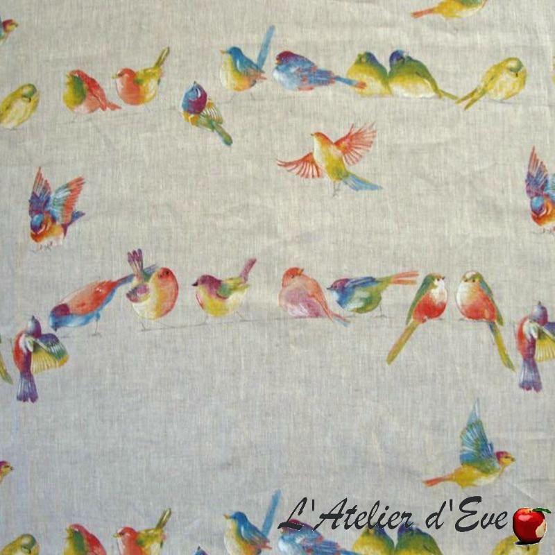 Happy birds Toile de lin imprimée oiseaux Thevenon