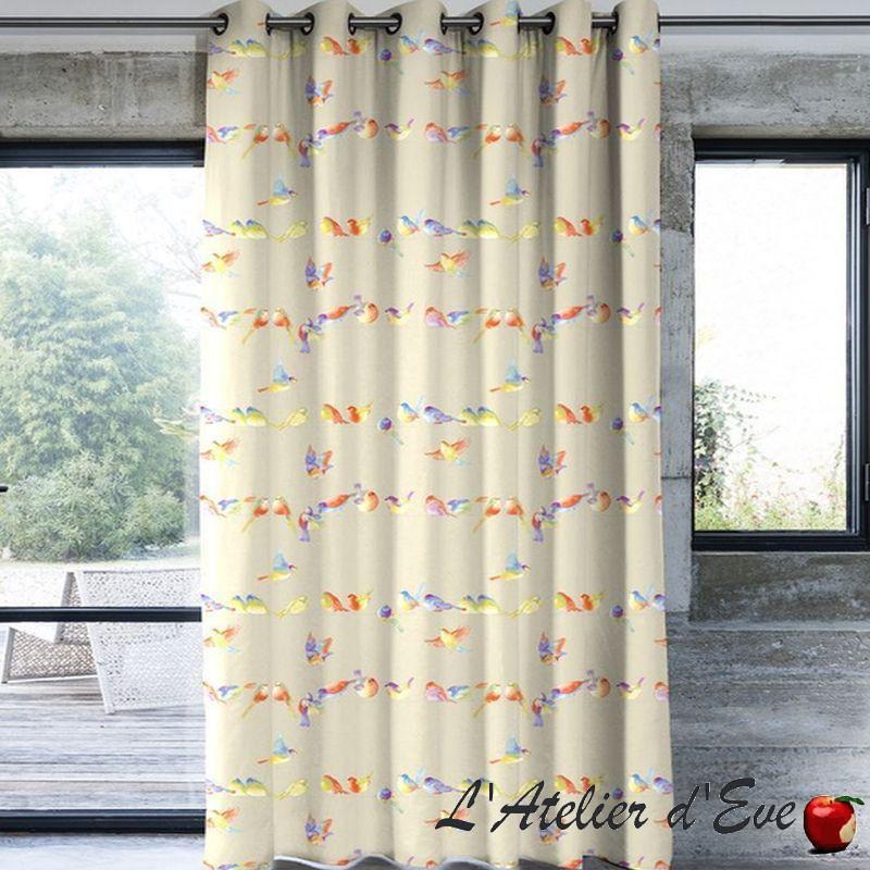 Happy birds - Détails rideau à oeillets 100% lin Made in France Thevenon