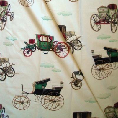 Les carrosses Rouleau tissu ameublement coton motif carosses Thevenon La piece ou demi piece