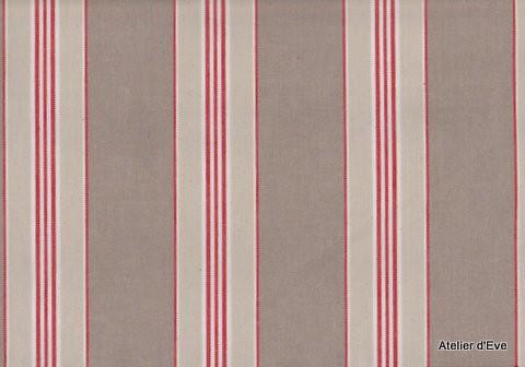 Biarritz Tissu Ameublement Coton Rayures L140cm A201 Rouge