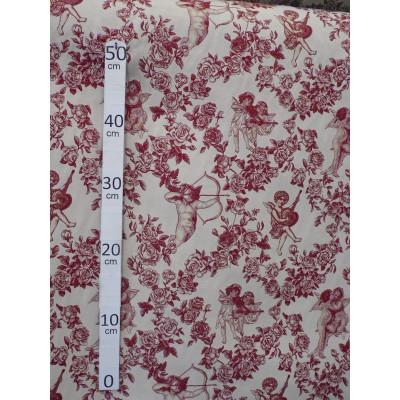 Ange Gabriel Toile de jouy Tissu ameublement grande largeur ecru/bordeaux L.280cm A699-3734 le metre