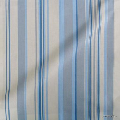 Manon Tissu ameublement coton rayures L.280cm bleu ciel Thevenon 626250 le metre