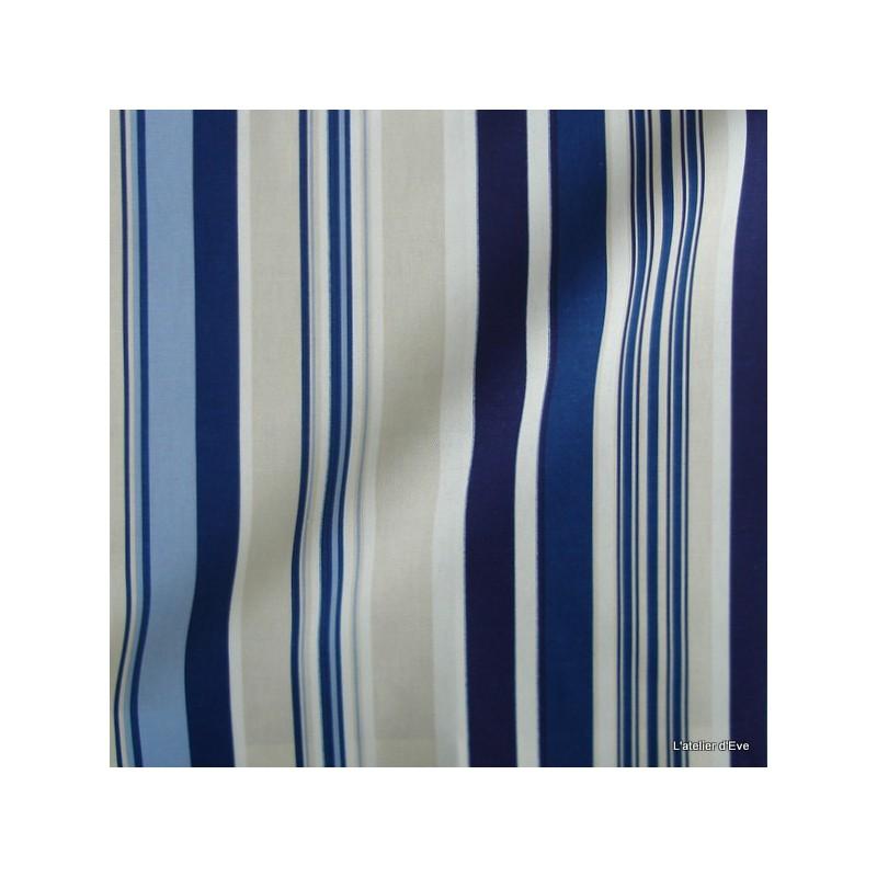 Manon Tissu ameublement coton rayures L.280cm marine Thevenon 626272 le metre
