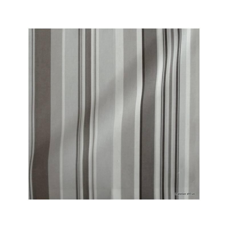 Manon Tissu ameublement coton rayures L.280cm taupe fond brouillard Thevenon 1421611 le metre