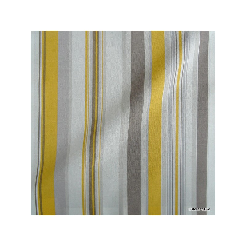 Manon Tissu ameublement coton rayures L.280cm soleil fond ecru Thevenon 1421613 le metre