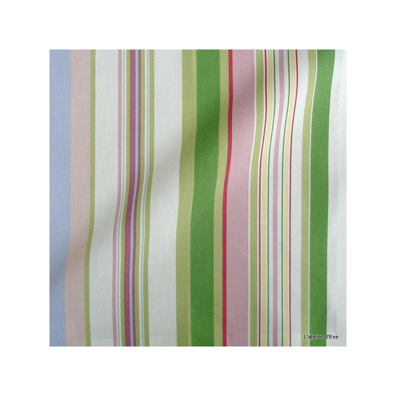 Manon Tissu ameublement coton rayures L.280cm rose/vert Thevenon 1421615 le metre