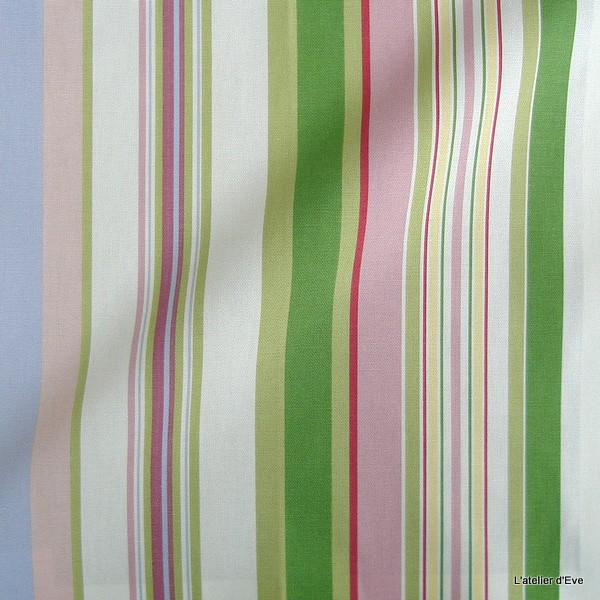 Manon Tissu Ameublement Coton Rayures Rose Vert