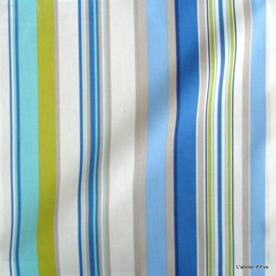 Manon Tissu ameublement coton rayures L.280cm bleu/celadon Thevenon 1421616 le metre