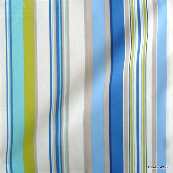 Manon Tissu Ameublement Coton Rayures Bleu Celadon