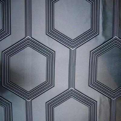 Hexagone Rideau a oeillets pret a poser jacquard gris Clair Fonce 1490721 le rideau
