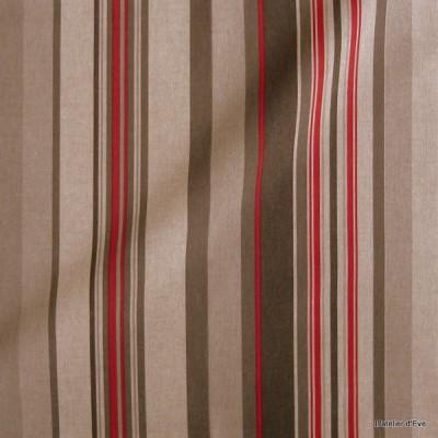 Manon Tissu ameublement coton rayures L.280cm gris/framboise fond naturel Thevenon 1421623 le metre