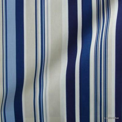 Manon Rideau a oeillets pret a poser bachette coton rayures marine 626272 le rideau