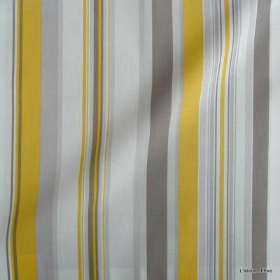 Manon Rideau a oeillets pret a poser bachette coton rayures soleil fond ecru 1421613 le rideau