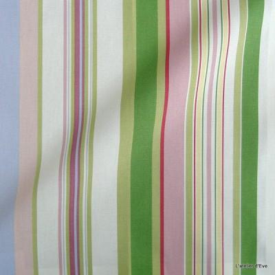 Manon Rideau a oeillets pret a poser bachette coton rayures rose/vert 1421615 le rideau