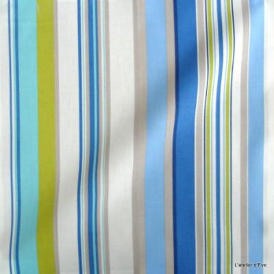 Manon Rideau a oeillets pret a poser bachette coton rayures bleu/celadon 1421616 le rideau