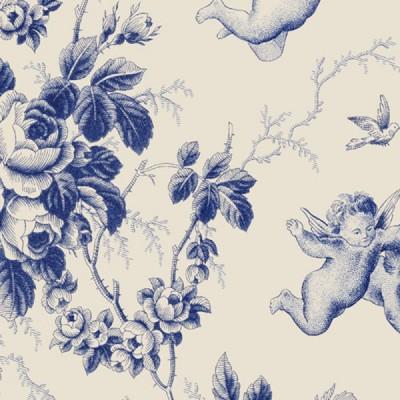Ange Seraphin 2 coloris Toile de jouy tissu ameublement bleu Thevenon 830402 le metre