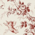 Ange Seraphin Toile de jouy tissu ameublement rouge Thevenon 830403 le metre