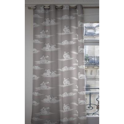 Les lapinoux Rideau a oeillet pret a poser coton fond gris 1349604 le rideau