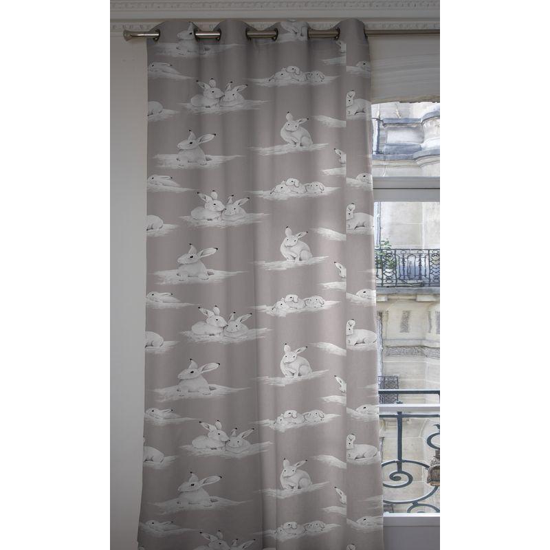 les lapinoux rideau a oeillet pret a poser coton fond gris 1349604 le rideau. Black Bedroom Furniture Sets. Home Design Ideas