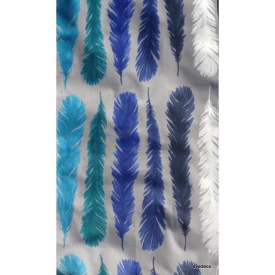 Nouveau monde Tissu ameublement coton turquoise/saphir fond gris L.280cm Thevenon 1522602 le metre