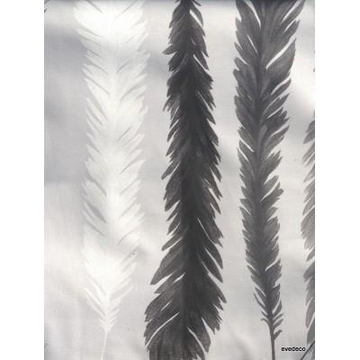 Nouveau monde Rideau a oeillet pret a poser coton noir/gris fond brouillard Clair Foncé 1522604 le rideau