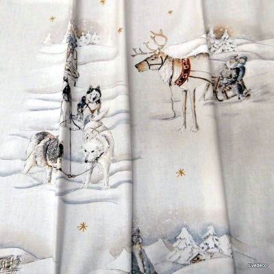 Cotton furnishing fabric sled rides wide theme Christmas Thévenon