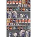Lover dose Rideau a oeillets pret a poser bachette coton fond gris Clair Fonce 1512621 le rideau
