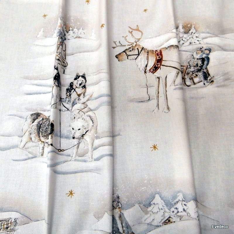 Tissu coton pour sièges et tapissier Balades en traîneau de Thevenon Paris et evedeco.com