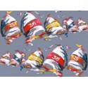 Les Regates Rideau a oeillets pret a poser coton fond gris Clair Fonce 1432623 le rideau